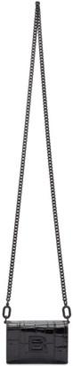 Balenciaga Black Croc Mini Hourglass Wallet Bag