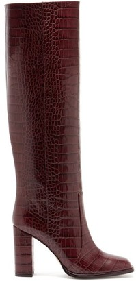 Paris Texas Square-toe Crocodile-effect Leather Knee Boots - Burgundy