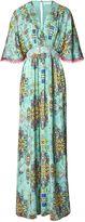 Matthew Williamson Turquoise Inca Jewel V-Neck Silk Jumpsuit