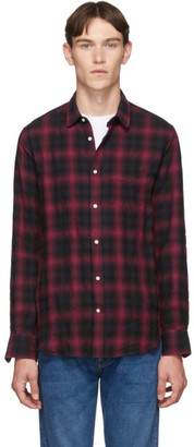 Officine Generale Black and Red Lipp Stitch Jap Shadow Plaid Shirt