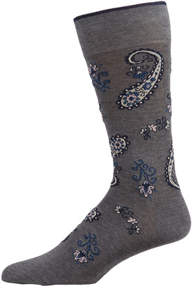 Marcoliani Milano Men's Paisley-Print Cotton-Blend Crew Socks