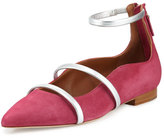 Malone Souliers Robyn Suede Ankle-Strap Flat, Cactus Flower