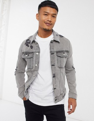 ASOS DESIGN skinny denim jacket in grey with rips