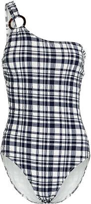 Solid & Striped Chloe One-Shoulder Seersucker Swimsuit