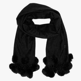 Jayley Black Coney Fur Pom Pom Wrap