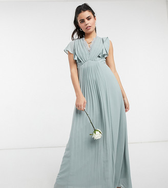 TFNC Petite bridesmaid lace detail maxi dress with flutter sleeves in sage
