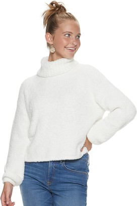 So Juniors' Long Sleeve Teddy Turtle Neck Pullover