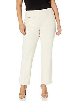 SLIM-SATION Women's Plus Size Pull on Solid Knit Flare Leg Pant