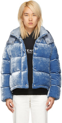 Moncler Blue Velvet Down Caille Jacket
