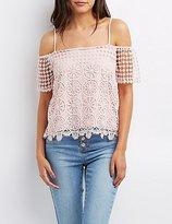 Charlotte Russe Crochet Cold Shoulder Top