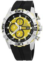 Burgmeister Men's Quartz Watch with Yellow Dial Analogue Display and Black Silicone Bangle BM535-192