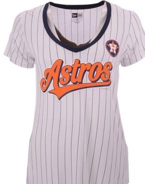 New Era Women's Houston Astros Pinstripe V-Neck T-Shirt