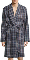Hanro Paolo Plaid Flannel Robe, Toffee Check