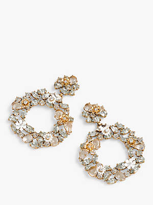 J.Crew Watusi Crystal Round Drop Earrings, Clear/Gold