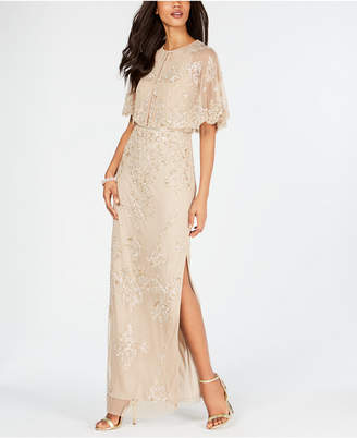 Adrianna Papell Beaded Wide-Sleeve Gown