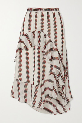 MUNTHE Envy Asymmetric Ruffled Striped Voile Skirt