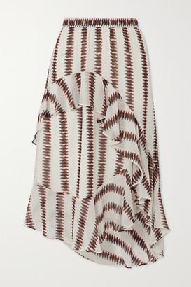 MUNTHE Envy Asymmetric Ruffled Striped Voile Skirt - White