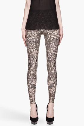 Alexander McQueen Black and beige Engineered Lace Printed Leggings