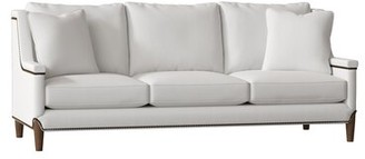 "Gabby Liam 93"" Recessed Arm Sofa Body Fabric: French Twill-X Optic White, Leg Color: Walnut, Nailhead Detail: Antique Brass, Cushion Fill: Standard"