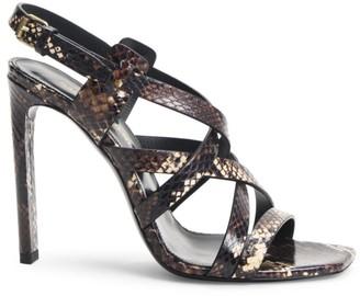Saint Laurent Bea Snakeskin High Heel Slingback Sandals