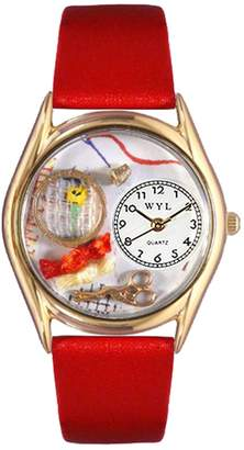 Whimsical Watches Needlepoint Red Leather and Goldtone Unisex Quartz Watch with White Dial Analogue Display and Multicolour Leather Strap C-0440001
