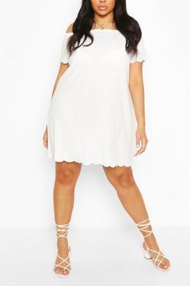 boohoo Plus Off The Shoulder Scallop Shift Dress