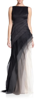 Halston Satin and Organza Tiered Degrade Gown