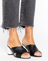 New Look Leather Look Cross Strap Heeled Mule