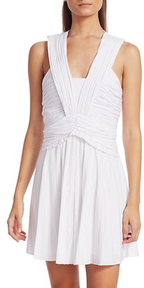 Derek Lam Ruched Pleated Stretch-Linen Mini A-Line Dress