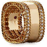 Roberto Coin Princess 18k Gold Square Ring with Diamonds, Size 6.5