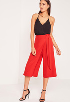 Missguided Wrap Belted Culottes Red