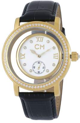 Monti Carlo Ladies Automatic Watch with White Dial Analogue Display and Black Leather Strap CM104-282