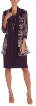R & M Richards Petite Dress, Puff-Print Jacket & Necklace