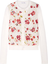 Oscar de la Renta Embellished Lace-paneled Wool And Silk-blend Cardigan - Cream