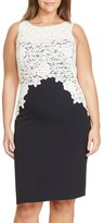Lauren Ralph Lauren Plus Size Women's Colorblock Lace Overlay Sheath Dress