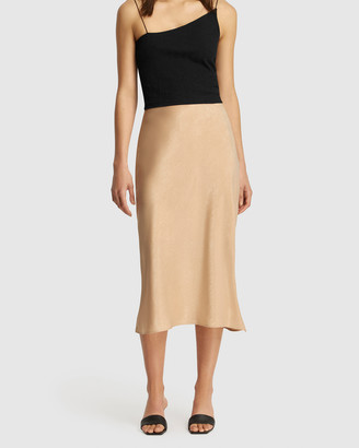 FRIEND of AUDREY - Women's Neutrals Midi Skirts - Paige Bias Midi Skirt - Size One Size, 8 at The Iconic