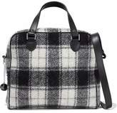 M Missoni Leather-Trimmed Brushed-Flannel Shoulder Bag