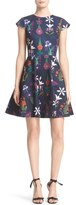 Ted Baker 'Seesee' Print Texture Knit Skater Dress