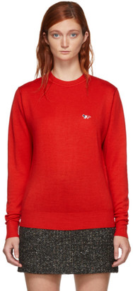 MAISON KITSUNÉ Red Virgin Wool R-Neck Pullover Sweater