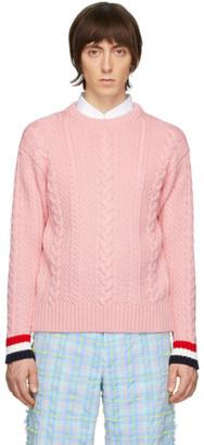 Thom Browne Pink Merino Aran Cable Sweater