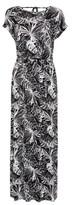 Dorothy Perkins Womens Black And White Palm Print Roll Sleeve Maxi Dress, Black
