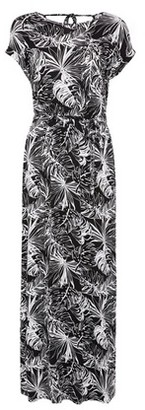 Dorothy Perkins Womens Black And White Palm Print Roll Sleeve Maxi Dress, Black