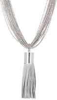 Natasha Accessories Multi Row Necklace with Soft Tassle Pendant