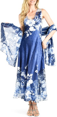 Komarov Lace-Up Back Floral Gown & Shawl