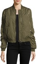 Romeo & Juliet Couture Quilted Woven Bomber Jacket, Olive