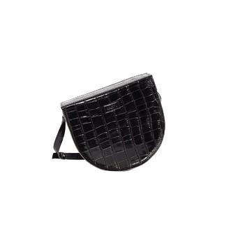 """Kartu Studio Natural Leather Cross Body Bag """"Notrele"""" Black Reptile Print"""