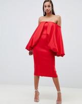 Asos Design DESIGN Premium Extreme Sleeve Midi Bodycon Dress
