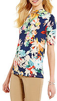 Investments Mini Mock Neck Short Sleeve Printed Top