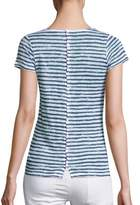 Majestic Filatures Striped Button-Back Linen Tee