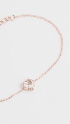 Ef Collection 14k Diamond White Topaz Heart Chain Bracelet